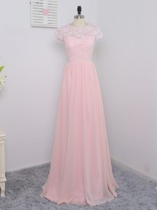 Chiffon Scoop Short Sleeves Zipper Lace Quinceanera Court of Honor Dress in Baby Pink