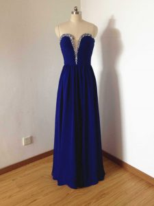 Floor Length Side Zipper Court Dresses for Sweet 16 Royal Blue for Prom and Party and Wedding Party with Beading