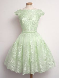 Perfect Cap Sleeves Knee Length Lace Lace Up Quinceanera Court Dresses with Yellow Green