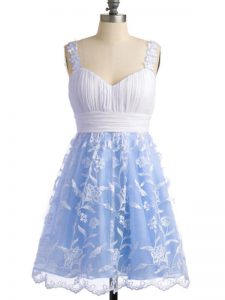 Artistic Lace Straps Sleeveless Lace Up Lace Quinceanera Dama Dress in Light Blue