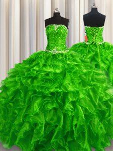 Green Sleeveless Beading and Ruffles Floor Length 15 Quinceanera Dress