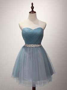 Tulle Sleeveless Mini Length Dama Dress and Beading and Ruching