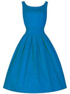 Fine Blue A-line Scoop Sleeveless Taffeta Knee Length Zipper Ruching Damas Dress