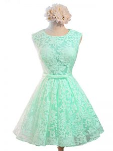 Scoop Sleeveless Lace Quinceanera Court of Honor Dress Belt Lace Up