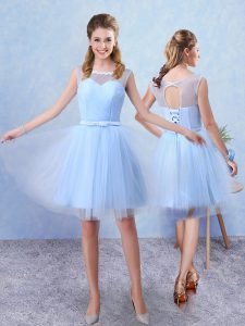 Scoop Sleeveless Quinceanera Dama Dress Knee Length Ruching and Belt Blue Tulle