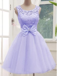 Scoop Sleeveless Tulle Quinceanera Court of Honor Dress Lace and Bowknot Lace Up