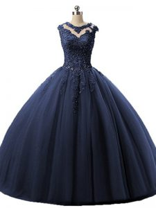 Trendy Scoop Sleeveless Tulle 15th Birthday Dress Beading and Lace Lace Up