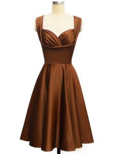 Chocolate Taffeta Lace Up Dama Dress Sleeveless Knee Length Ruching