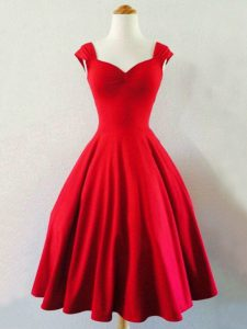 Suitable Mini Length Red Quinceanera Court Dresses Straps Sleeveless Lace Up