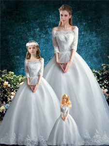 Exquisite White Ball Gowns Off The Shoulder Half Sleeves Tulle Court Train Clasp Handle Lace 15th Birthday Dress