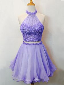 Perfect Lavender Organza Lace Up Dama Dress Sleeveless Knee Length Beading