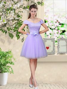 Dazzling Lilac A-line Lace and Belt Vestidos de Damas Lace Up Tulle Cap Sleeves Knee Length