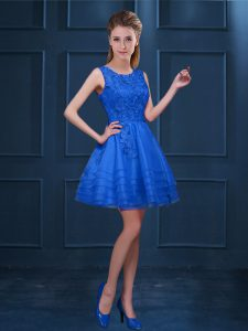 Blue Tulle Zipper Damas Dress Sleeveless Knee Length Lace and Ruffled Layers