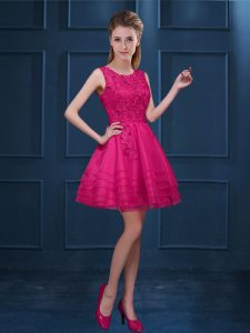 Scoop Sleeveless Court Dresses for Sweet 16 Knee Length Lace and Ruffled Layers Hot Pink Tulle