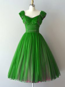 Chiffon V-neck Cap Sleeves Lace Up Ruching Vestidos de Damas in Green
