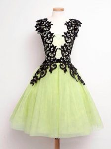 Yellow Green A-line Straps Sleeveless Tulle Knee Length Lace Up Lace Quinceanera Court of Honor Dress