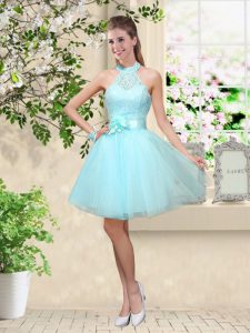 Popular Sleeveless Tulle Knee Length Lace Up Dama Dress in Aqua Blue with Lace and Belt