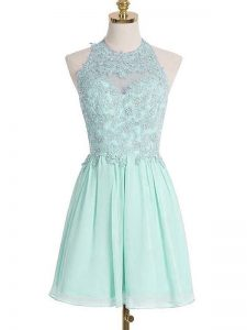Low Price Apple Green Lace Up Quinceanera Court of Honor Dress Appliques Sleeveless Knee Length