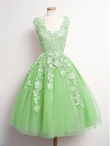 On Sale Yellow Green Lace Up V-neck Appliques Quinceanera Court Dresses Tulle Sleeveless