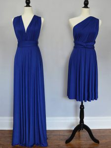 Sleeveless Floor Length Ruching Lace Up Vestidos de Damas with Royal Blue