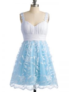 Sleeveless Knee Length Lace Lace Up Court Dresses for Sweet 16 with Light Blue