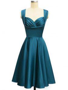Stylish Ruching Dama Dress Teal Lace Up Sleeveless Knee Length