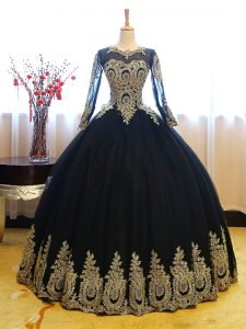 Luxury Floor Length Ball Gowns Long Sleeves Navy Blue Sweet 16 Dresses Lace Up