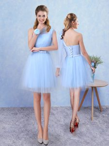 Asymmetric Sleeveless Tulle Quinceanera Dama Dress Belt Lace Up