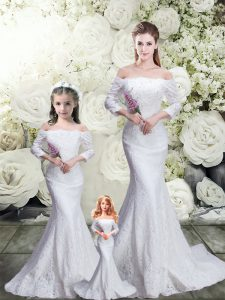 White 3 4 Length Sleeve Lace Lace Up Quinceanera Gown