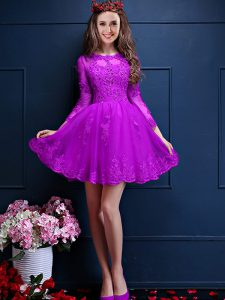 Eggplant Purple 3 4 Length Sleeve Beading and Lace and Appliques Mini Length Quinceanera Court Dresses