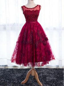 Discount Fuchsia Lace Zipper Scoop Sleeveless Tea Length Court Dresses for Sweet 16 Lace