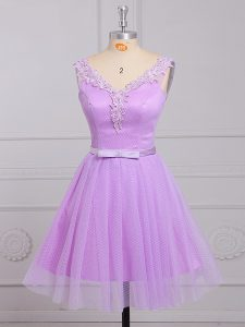 Most Popular Lace V-neck Sleeveless Lace Up Appliques and Belt Vestidos de Damas in Lilac