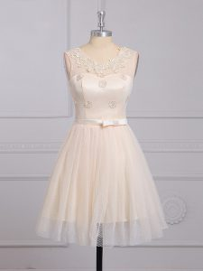 Luxurious Champagne Vestidos de Damas Prom and Party and Wedding Party with Appliques and Belt Scoop Sleeveless Lace Up
