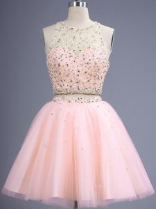 Sexy Peach Sleeveless Knee Length Beading Lace Up Quinceanera Court of Honor Dress