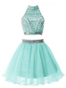 Great Sleeveless Knee Length Beading Zipper Court Dresses for Sweet 16 with Light Blue