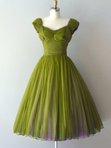 Olive Green A-line Chiffon V-neck Cap Sleeves Ruching Knee Length Lace Up Damas Dress