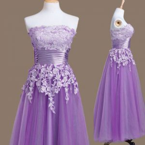 Sleeveless Tea Length Appliques Lace Up Damas Dress with Lavender