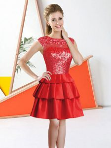 Pretty Red A-line Bateau Sleeveless Tulle Knee Length Backless Beading and Lace Quinceanera Dama Dress