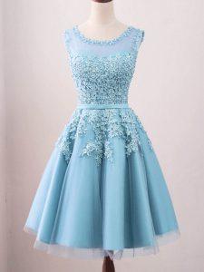 Aqua Blue Sleeveless Lace Knee Length Quinceanera Court Dresses