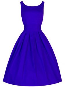 Designer Blue Taffeta Lace Up Quinceanera Court Dresses Sleeveless Knee Length Ruching