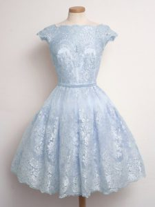 Light Blue Lace Up Dama Dress for Quinceanera Lace Cap Sleeves Knee Length