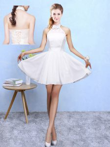White Sleeveless Chiffon Lace Up Vestidos de Damas for Beach and Wedding Party