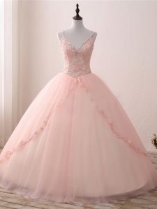 Graceful Pink Ball Gowns Beading and Appliques Sweet 16 Dress Lace Up Tulle Sleeveless Floor Length