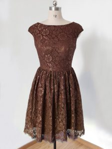 Flare Brown Scoop Lace Up Lace Quinceanera Court Dresses Cap Sleeves