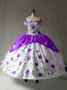 Floor Length White And Purple 15 Quinceanera Dress Off The Shoulder Cap Sleeves Lace Up