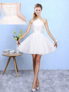 Elegant Halter Top Sleeveless Quinceanera Court of Honor Dress Mini Length Lace and Appliques White Chiffon