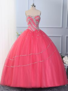 Floor Length Hot Pink Quinceanera Gown Sweetheart Sleeveless Lace Up