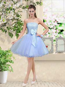 Dynamic Lavender Off The Shoulder Neckline Lace and Belt Damas Dress Sleeveless Lace Up