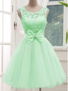 Latest Apple Green Sleeveless Tulle Lace Up Dama Dress for Quinceanera for Prom and Party and Wedding Party