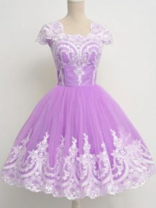 Lavender Tulle Zipper Dama Dress for Quinceanera 3 4 Length Sleeve Knee Length Lace